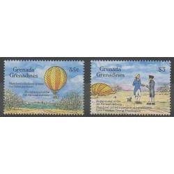 Grenadines - 1993 - Nb 1551/1552 - Hot-air balloons - Airships - Postal Service