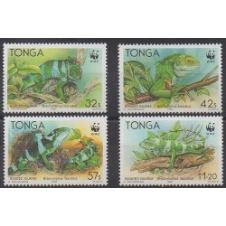 Tonga - 1990 - Nb 790/793 - Reptils - Endangered species - WWF