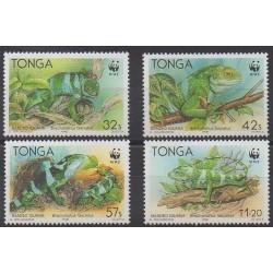 Tonga - 1990 - No 790/793 - Reptiles - Espèces menacées - WWF