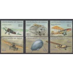 Chad - 1998 - Nb 884/889 - Planes - Hot-air balloons - Airships