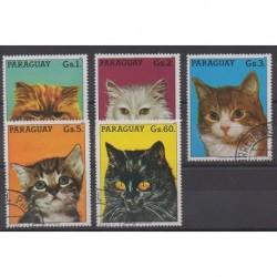 Paraguay - 1987 - No 2286A/2286E - Chats - Oblitérés