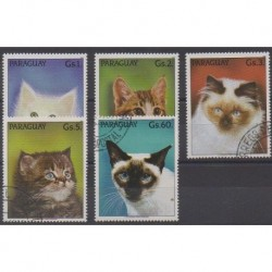 Paraguay - 1989 - Nb 2424/2428 - Cats - Used