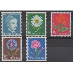 Swiss - 1963 - Nb 721/725 - Flowers