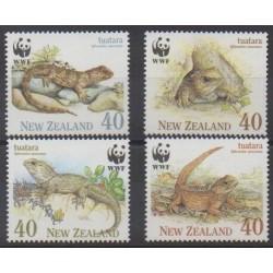 New Zealand - 1991 - Nb 1104/1107 - Reptils - Endangered species - WWF