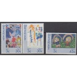 Nouvelle-Zélande - 1986 - No 932/934 - Santé ou Croix-Rouge - Enfance - Dessins d'enfants