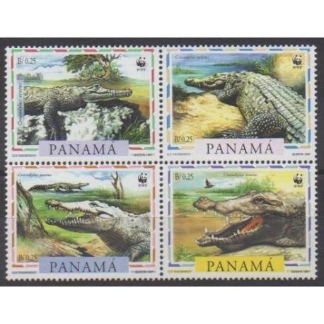 Panama - 1997 - Nb 1138/1141 - Reptils - Endangered species - WWF
