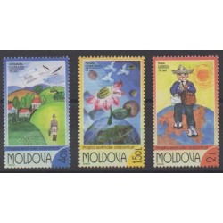 Moldova - 2002 - Nb 383/385 - Children's drawings - Postal Service