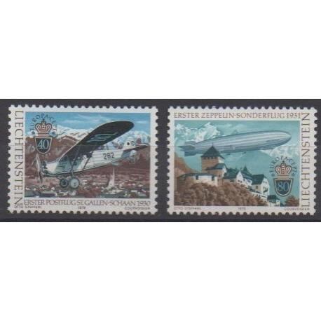 Liechtenstein - 1979 - No 664/665 - Service postal - Europa - Dirigeables