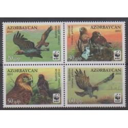 Azerbaïdjan - 2011 - No 763/766 - Oiseaux - Espèces menacées - WWF