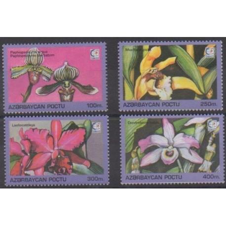 Azerbaïdjan - 1995 - No 242U/242X - Orchidées - Philatélie