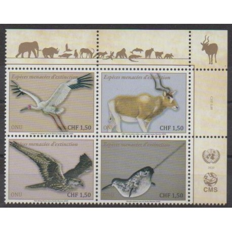 United Nations (UN - Geneva) - 2020 - Nb 1079/1082 - Endangered species - WWF