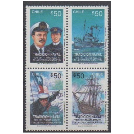 Chile - 1991 - Nb 1043/1046 - Boats