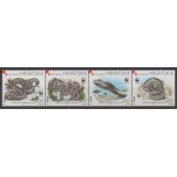 Croatie - 1999 - No 470/473 - Reptiles - Espèces menacées - WWF