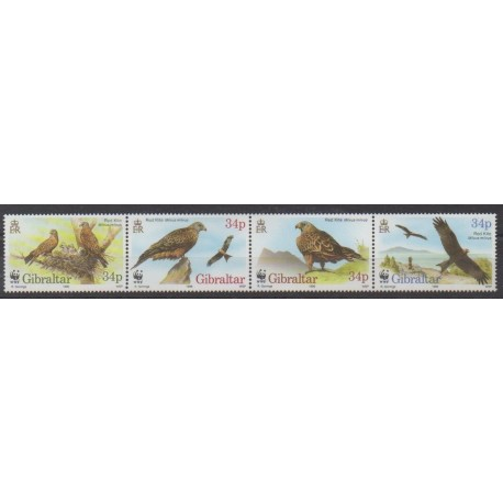Gibraltar - 1996 - Nb 783/786 - Birds - Endangered species - WWF