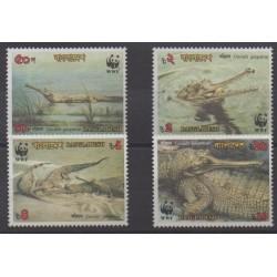 Bangladesh - 1990 - No 300/303 - Reptiles - Espèces menacées - WWF