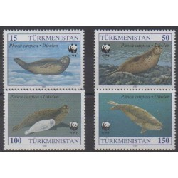 Turkmenistan - 1993 - Nb 40/43 - Mamals - Sea life - Endangered species - WWF