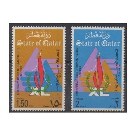 Qatar - 1988 - Nb 564/565 - Human Rights