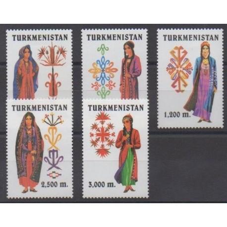 Turkmenistan - 1999 - Nb 119/123 - Costumes - Uniforms - Fashion