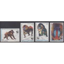 Guinée équatoriale - 1991 - No 271/274 - Mammifères - Espèces menacées - WWF