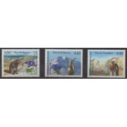 France - Poste - 1996 - Nb 2997/2999 - Parks and gardens - Animals