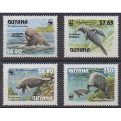 Guyana - 1993 - Nb 2877/2880 - Mamals - Endangered species - WWF - Sea life