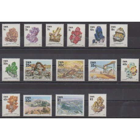 South-West Africa - 1989 - Nb 606/620 - Minerals - Gems