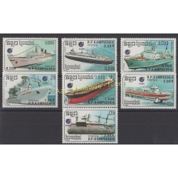 Cambodge - 1988 - No 809/815 - Bateaux