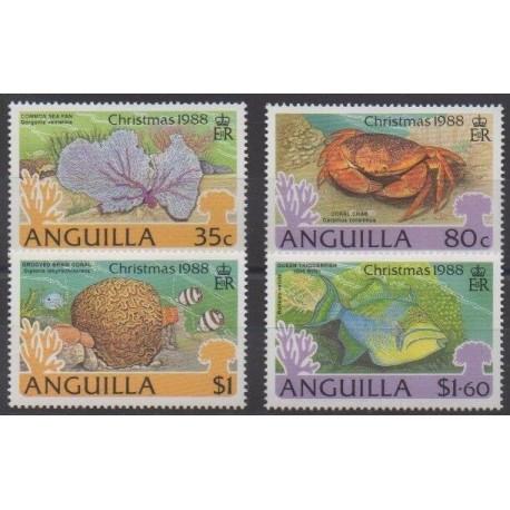Anguilla - 1988 - Nb 722/725 - Sea life