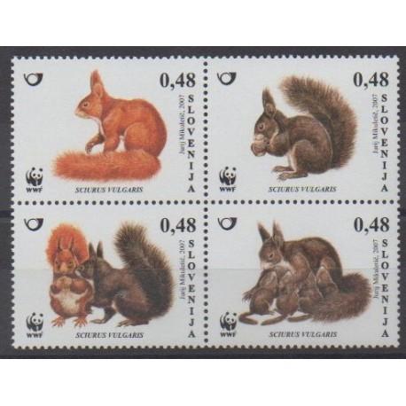 Slovenia - 2007 - Nb 583/586 - Mamals - Endangered species - WWF