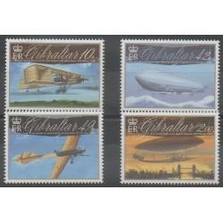 Gibraltar - 2010 - Nb 1383/1386 - Planes - Hot-air balloons - Airships