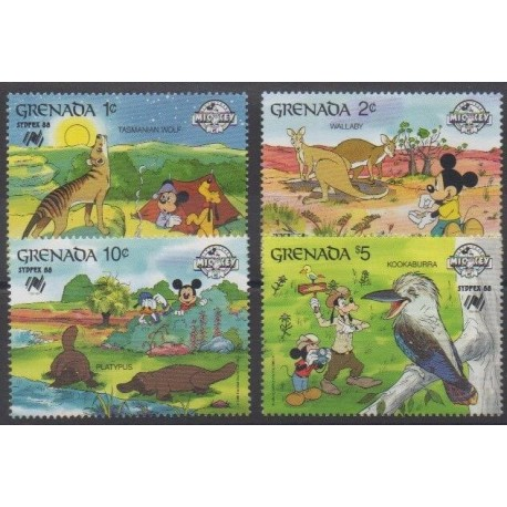 Grenade - 1988 - Nb 1605/1608 - Walt Disney - Philately