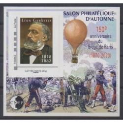 France - Feuillets CNEP - 2020 - No CNEP 85 - Léon Gambetta - Siège de Paris - Ballons