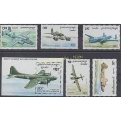 Cambodge - 1995 - No 1276/1280 - BF 117 - Avions
