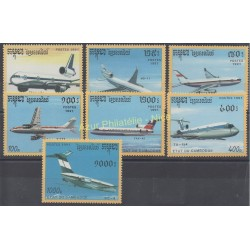 Cambodge - 1991 - No 1023/1029 - Avions