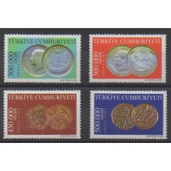 Turkey - 2001 - Nb 3012/3015 - Coins, Banknotes Or Medals