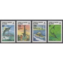 Turks and Caicos ( Islands) - 1988 - Nb 792/795 - Craft - Sea life