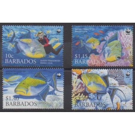 Barbados - 2006 - Nb 1157/1160 - Sea life - Endangered species - WWF