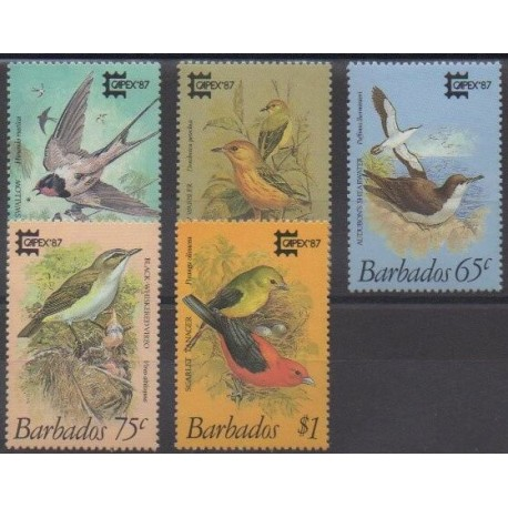 Barbados - 1987 - Nb 685/689 - Birds - Exhibition