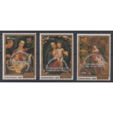 Cook (Islands) - 1986 - Nb 870/872 - Christmas - Pope - Paintings