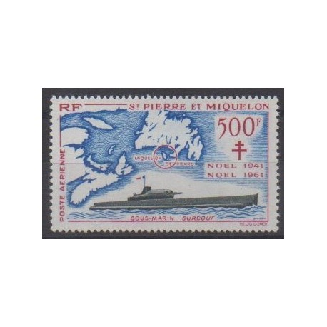 Saint-Pierre and Miquelon - Airmail - 1962 - Nb PA28 - Christmas - Boats