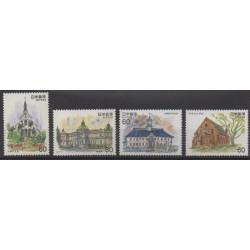 Japon - 1981 - No 1383/1384 - 1394/1395 - Architecture