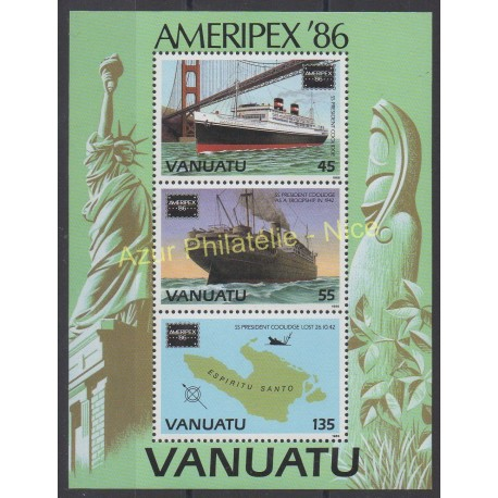 Stamps - Theme boats - Vanuatu - 1986 - Nb BF 9