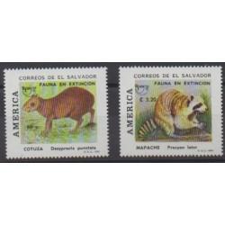 Salvador - 1993 - Nb 1178/1179 - Mamals - Endangered species - WWF