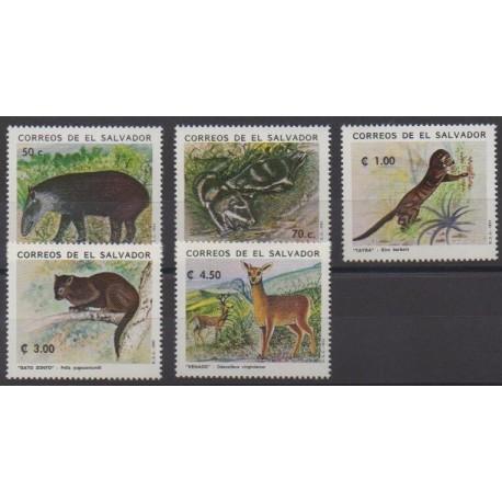 Salvador - 1993 - No 1163/1167 - Animaux - Espèces menacées - WWF