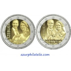 2 euro commémorative - Luxembourg - 2020 - La naissance du prince Charles - Versions relief et photo - UNC