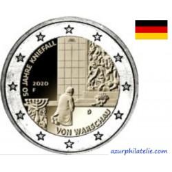 2 euro commémorative - Allemagne - 2020 - 50 ans de l'agenouillement de Willy Brandt à Varsovie - UNC