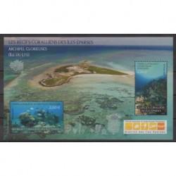 TAAF - Blocs et feuillets - 2021 - Récifs coralliens - Vie marine - Sites