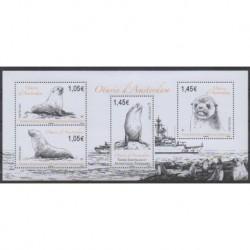 TAAF - Blocs et feuillets - 2021 - Otaries d'Amsterdam - Mammifères - Vie marine