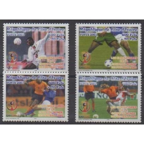 Côte d'Ivoire - 2001 - No 1083/1086 - Coupe du monde de football
