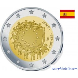 2 euro commémorative - Espagne - 2015 - 30ème anniversaire du drapeau européen - UNC